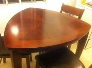 Moving - Real Mahogany Wood Dining Set - Real Leather Chairs