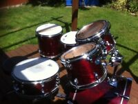 Premier Artist birch, cherry red, 6 drums including snare, excellent condition, sounds great