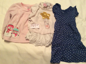 Clean gently used girls clothes.  Sizes 9 M-3T.