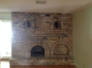 Brick from fireplace. Metal railing, Staircase oak stoney creek