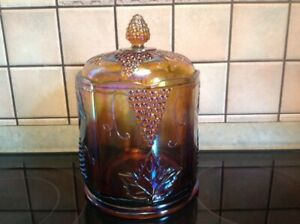 Vintage Carnival glass canister w/ lid