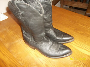 Men's Great Shape Black Leather Cowboy Boots! Never Worn!!