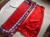 Hindo saree with skirt satin Red saree with stone used £8