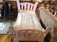 Single bed with mattress pink colour good condition £35