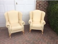 2 Real Leather Chesterfield Queen Anne chairs