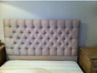 Luxury upholstered high headboard in cream linen
