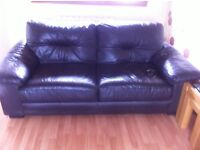 3 seater brown leather sofa