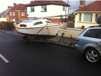 20ft trailer sailer hull only cabin fishing boat