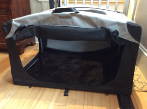 Collapsible soft sided dog kennel