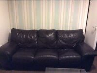 3&2 seater leather brown sofa's