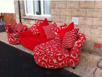 Red left handed sofa and swivel chair