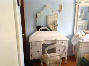 Antique Makeup Desk and Chair
