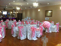 Chair Cover, Table Cloth, Centerpiece, Backdrop Rental