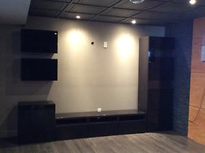 Unité murale meuble télé