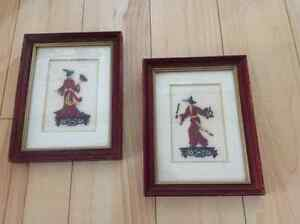 Vintage Art hand stitched Needlepoint - Traditional Asian Couple