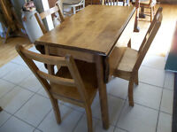 Vintage solid hardwood drop leaf table with four chairs
