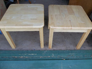 Two solid wood end tables