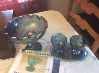 4 pièces de verre post carnaval bleu irise