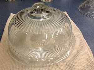 Vintage Antique Glass Covered Cake Plate