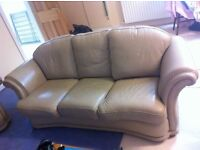 BEIGE LEATHER 3 PIECE SUITE 3 Seater Sofa & 2 Single Seater Chairs £190 ono