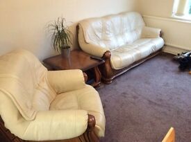 Cream leather suite and matching table