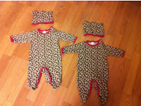 NEW NEVER WORN! 2 x Bluezoo Babygrows with hats 0-3 months leopard print.