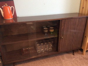 Mid Century slim buffet storage unit, credenza