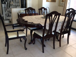 French Provincial Solid Wood Dining Room Table & 6 Chairs