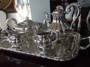 Beautiful silver service tray with tea, coffee, sugar and cream West Island Greater Montréal image 6
