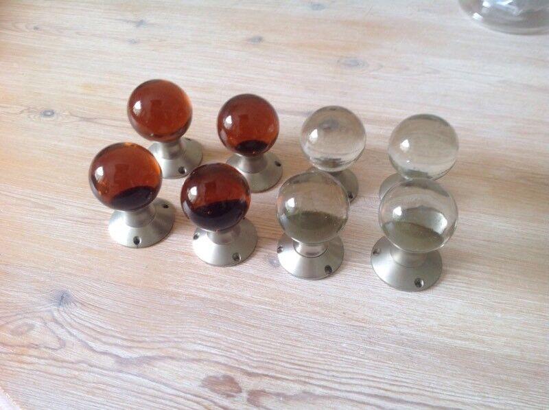 Glass door knobs four pairs