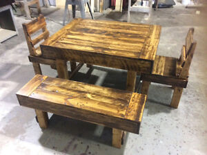 RECLAIMED WOOD DINING TABLES, BENCHES AND CHAIRS