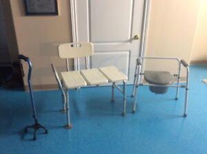 Mobility aids quad cane, commode, tub transfer chair