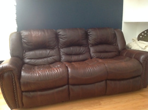 Dark brown leather recliner couch for sale