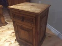 Rustic Solid Wood End Table With Drawer and Door