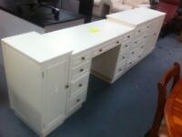 White 1970s Bedroom chest + vanity units