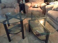Glass top coffee and end table