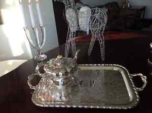 Beautiful silver service tray with tea, coffee, sugar and cream West Island Greater Montréal image 4