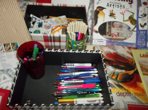 art supplies with easel