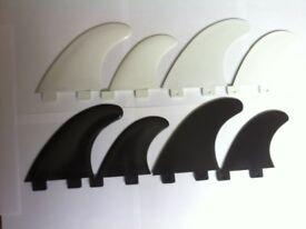 Surfboard Fins FCS Quad Set Black or White set (4) Surfing Fin G5 & GL Surf Quads