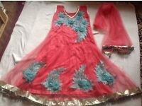 Indian ladies dress with scarf pink size 36inc used £10