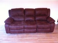 BROWN 3 SEATER SUEDE RECLINING SOFA