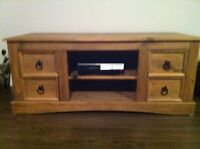 Rustic tv stand in pine wood