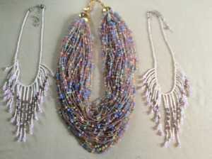 3 beaded necklaces and lovely coordinating scarf for sale