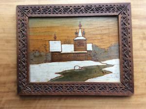 Wood panel of Othodox Church scene