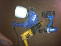 Drill, cordless screwdriver n paint gun
