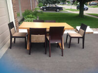 Dining table and six solid wood dining chairs