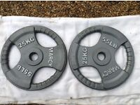 2 x 25kg Marcy Olympic Tri-Grip Cast Iron Weights