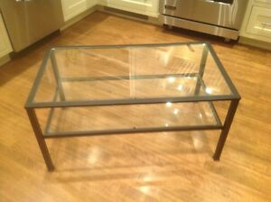 Black metal and glass coffee table from Bustins