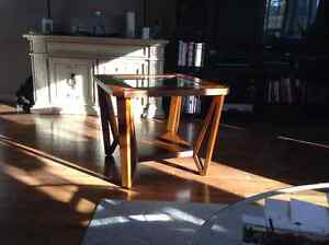 Pair glass topped wood end tables