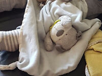 Baby's lovey - blue and Gray puppy security blanket